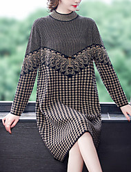 cheap -Women's Sheath Dress Knee Length Dress Long Sleeve Check Patchwork Fall Casual 2021 Black One-Size