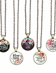 cheap -bible verse pendant necklace christian songs and hymns glass cabochon pendant inspired necklace with 24 inches chain handmade for gifts 5pcs (bible 7, bible verses)