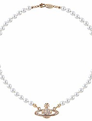 cheap -rxing white pearl bead necklaces crystal rhinestone saturn planet necklace best friend girlfriend birthday anniversary (gold)