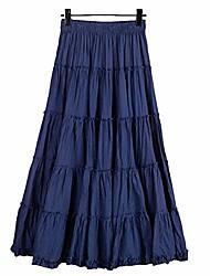 baratos -saia longa boêmia de cintura elástica feminina algodão círculo babado vassoura camponesa saia maxi em camadas azul