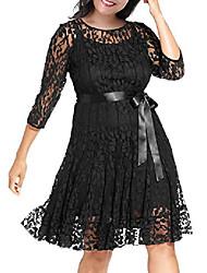 cheap -women's illusion floral lace 3/4 sleeves plus size cocktail dress (18w, black)