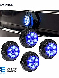 cheap -4pc snakeeye iii blue led hideaway strobe light [sae class 1] [ip67 waterproof] [72 flash modes] [multi units sync-able] [steady override] blue emergency strobe police lights for vehicles