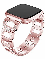 cheap -compatible with fitbit versa bands, versa 2 metal band large small diamond rhinestone bracelet women replacement wristband compatible with fitbit versa/ versa 2/ versa se/ lite watch, rose gold