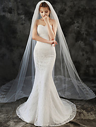 cheap -Two-tier Lace Wedding Veil Cathedral Veils with Solid 118.11 in (300cm) Tulle