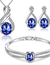 cheap -charming nobile swarovski jewelry sets with sapphire blue necklace 18k white gold bracelet earrings for women