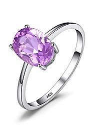 cheap -1.1ct natural gemstones birthstone amethyst solitaire engagement ring for women for girls 925 sterling silver oval cut size 8