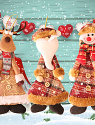 cheap -Christmas Toys Christmas Decorations Christmas Tree Ornaments Santa Claus Reindeer Party Favor For Living Room Bedroom Fabric 3 pcs Kids Adults 24*10cm Christmas Party Favors Supplies