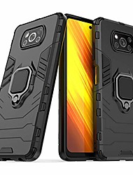 cheap -case for xiaomi poco x3 nfc, dual layer protective shockproof hard armor cover with 360° rotating finger ring kickstand and car magnetic mount for poco x3 nfc - black