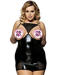 cheap -Women's Lace Plus Size Bodysuits Nightwear Solid Colored Black M XL 3XL