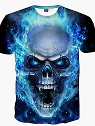 cheap -Men's T shirt Graphic Skull Print Short Sleeve Daily Tops Basic Blue