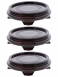 cheap -rosewood finish tea light holder candle tray - set of 3 - brown