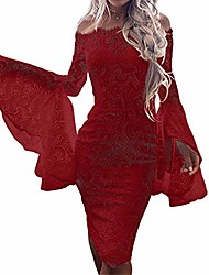 cheap -uoknice dresses for women, spring summer casual sexy lace flare sleeve solid slash-neck lace up sheath mini dress slit leopard print sexi choker work can i vintage empire waist under red