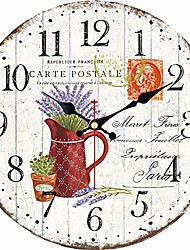 cheap -14 inch wooden wall clock, vintage french country romantic design purple lavender wall clocks arabic numerals battery operated silent non-ticking clock for home decoration