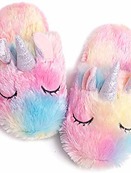 cheap -girls unicorn slippers cute fluffy plush slip on indoor house fuzzy fur slides unicorn gifts for kids (rainbow, numeric_10)