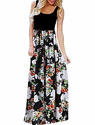 cheap -women dress, womens plus size striped boho beach summer sundrss long maxi dress (xl, white- b)