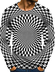 cheap -Men's Graphic Optical Illusion 3D Plus Size T shirt 3D Print Print Long Sleeve Daily Tops Round Neck Black / White / Sports