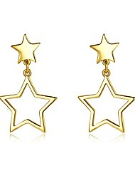 cheap -14k gold plated star dangle christmas earrings drop style nice gift for girls womens (star)