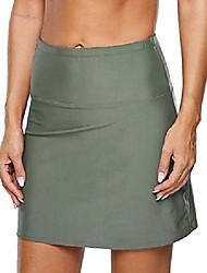 cheap -women's high waisted swim bottom swim skirt skort bikini bottom tankini swimsuit solid black 10