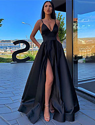 cheap -A-Line Minimalist Sexy Prom Formal Evening Dress Spaghetti Strap Sleeveless Sweep / Brush Train Satin with Pleats Split Front 2021