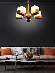 cheap -5-Light 60 cm Mini Style Pendant Light Wood / Bamboo Glass Wood Modern Contemporary Country 110-120V 220-240V