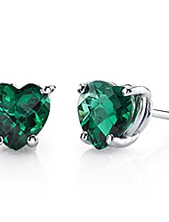 cheap -created emerald heart stud earrings for women in 14 karat white gold, classic solitaire studs, 6mm, 1.50 carats total, friction back