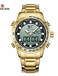 cheap -men watch fashion alloy case digital analog dual movement watch sports waterproof quartz wrist watch