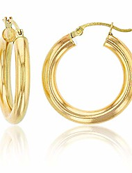 cheap -14k yellow gold solid polished round hoop earrings for women | 4mm thick | classic style | round hoop earrings | secure click-top | shiny polished earrings for women, 4x25mm