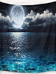 cheap -night sky tapestry wall hanging full moon on the sea magical fantasy wall art 3d watercolor tapestry wall for bedroom living room dorm home decor, 60 x 40 inches