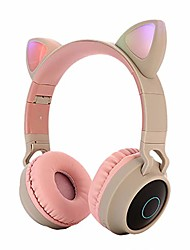 cheap -bluetooth headphones, sandistore wireless over ear cat ear headphones with led light foldable built-in microphone and volume control for cell phones/laptop/pc/tv kids boys girls friends (khaki)