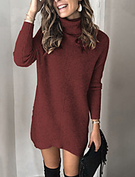 cheap -Women's Sweater Jumper Dress Knee Length Dress Long Sleeve Solid Color Fall Elegant Casual 2021 Red Orange S M L XL XXL 3XL