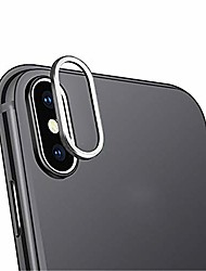 cheap -9h hardness tempered glass hd back camera lens film protector and metal lens protective ring cover for iphone xs/xs max (iphone xs max, silver)