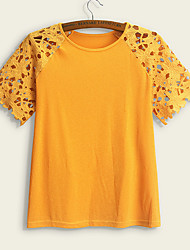 cheap -Women's Plus Size T shirt Plain Cut Out Round Neck Tops Sexy Basic Top Yellow