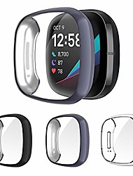 cheap -3-pack for fitbit sense and versa 3 case, all-around protective plated tpu bumper cover screen portector case for fitbit versa 3 / sense smartwatch, black+gray+clear