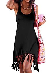 cheap -women's summer beach dress bikini cover up casual vacation tassel short dresses black