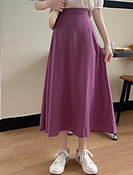 cheap -Women's Casual / Daily Active Skirts Solid Colored Black Purple