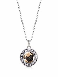 cheap -- pug charm necklace for women - silver circle charm 18 inch necklace with cubic zirconia jewelry