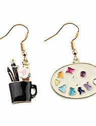 cheap -colorful artist paint palette and paint brush pendant drop earrings painter artist jewelry gift for art teacher art student (artist earrings mix)