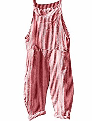 cheap -stripe plunge jumpsuits loose harem adjustable strap dungarees pockets overall casual playsuits (m, red)