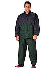 cheap -pvc rain suit (2 piece), blue/green, 2x-3x/2x-large