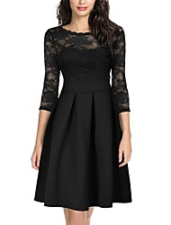 cheap -Women's A-Line Dress Knee Length Dress Long Sleeve Solid Color Lace Patchwork Fall Winter Elegant Sexy 2021 White Black Blue Wine Green S M L XL XXL 3XL