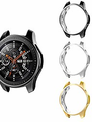 cheap -case protector compatible with samsung galaxy watch 3 45mm, [3-pack] scratchproof plated tpu protective smartwatch case, watch cover fit galaxy watch 3 45mm sm-r840 - black & silver & gold