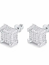 cheap -charlinliol 14k white gold plated stud earring for men with 925 sterling silver screw back