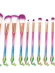 cheap -10 pieces of new Mermaid makeup brush peacock head handle make-up cover brush multi-functional make-up tool