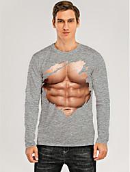 cheap -Men's T shirt 3D Print Graphic 3D Muscle Print Long Sleeve Daily Tops Gray