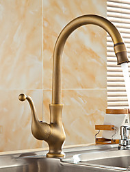 cheap -Single Handle Kitchen Faucet, Rustic Nickel One Hole Rotatable Standard Spout/Centerset, Brass Kitchen Faucet with Supply Lines