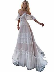 cheap -sorayan women's wedding dresses chic lace evening dresses bohemian v neck elegant sleeves wedding gowns(photos color,m)