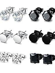 cheap -stainless steel stud earrings for men women cz round earrings black 9mm