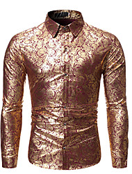 cheap -mens party print dress shirt casual gold silver floral shirts classic fit tops