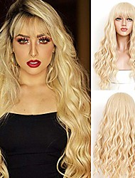 cheap -blonde wig with bangs natural loose wave wig glueless long wavy synthetic wig for women blonde wigs glueless bangs wigs long narural curly high density synthetic 26inch
