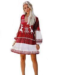 cheap -Women's A-Line Dress Short Mini Dress - Long Sleeve Print Fall Casual Elegant Christmas 2020 Red S M L XL